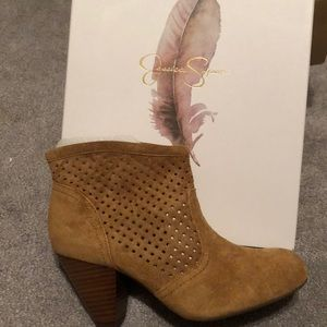 Jessica Simpson perforated split suede booties